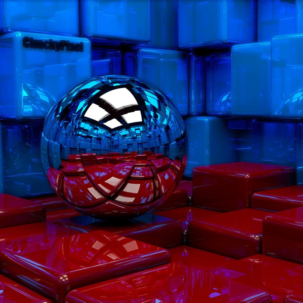 Metallic Sphere Reflecting The Cube Room Wallpaper for Apple iPad 2