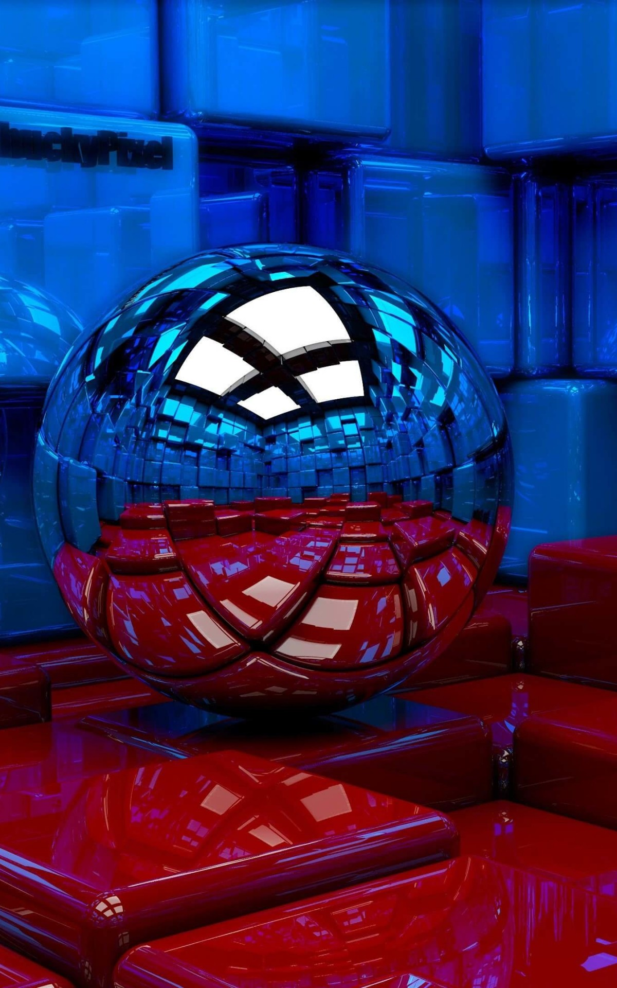 Metallic Sphere Reflecting The Cube Room Wallpaper for Amazon Kindle Fire HDX