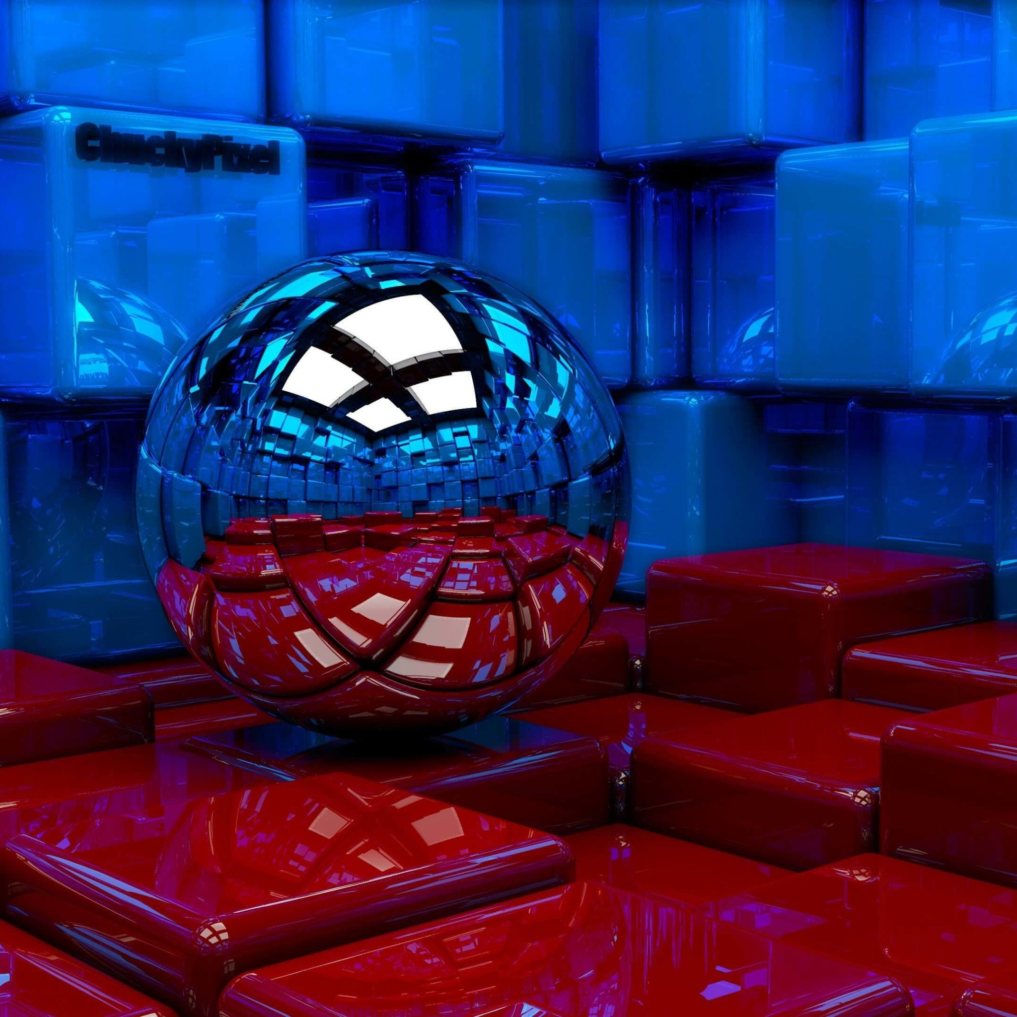 Metallic Sphere Reflecting The Cube Room Wallpaper for Google Nexus 9