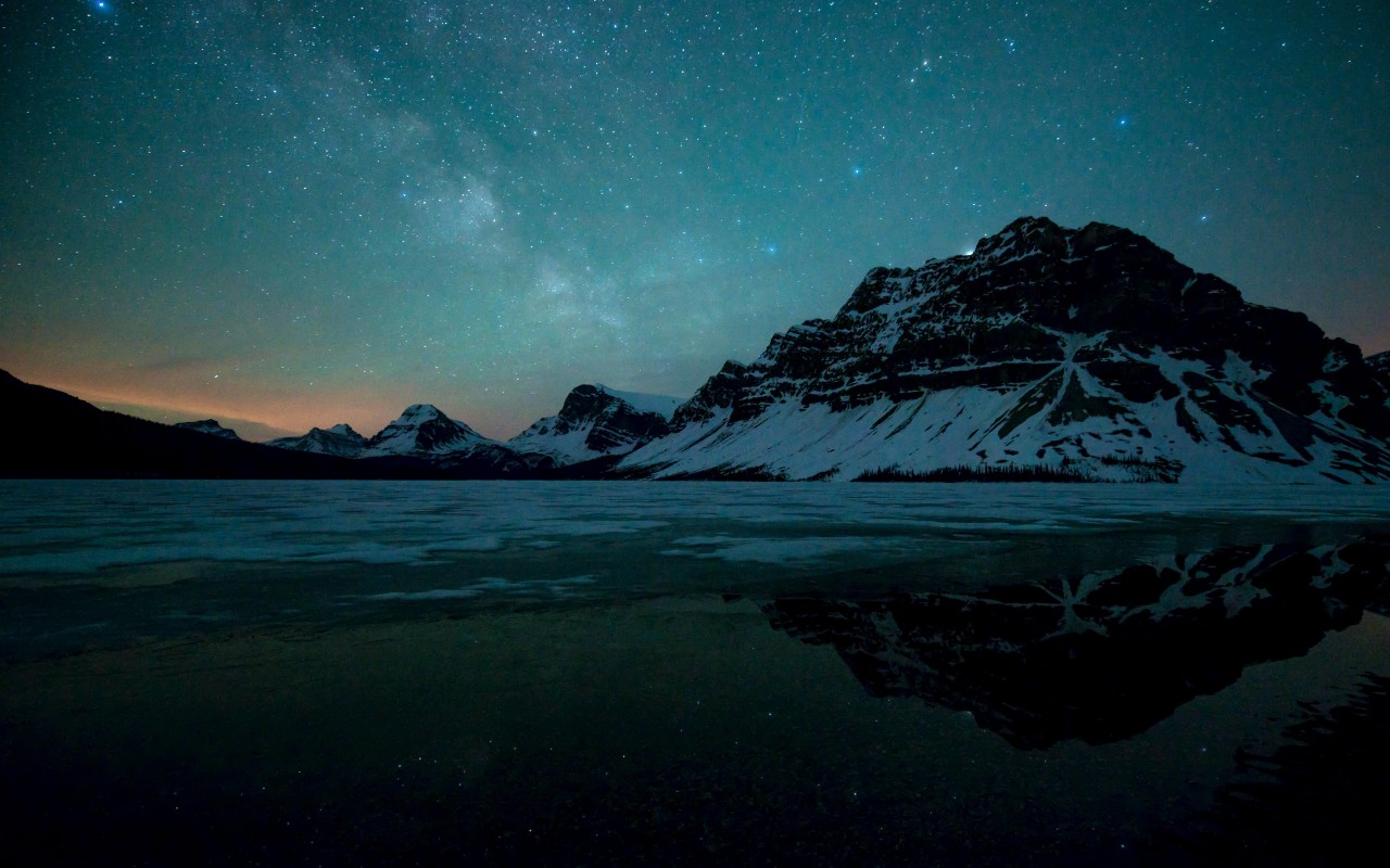 Milky Way over Bow Lake, Alberta, Canada Wallpaper for Desktop 1280x800