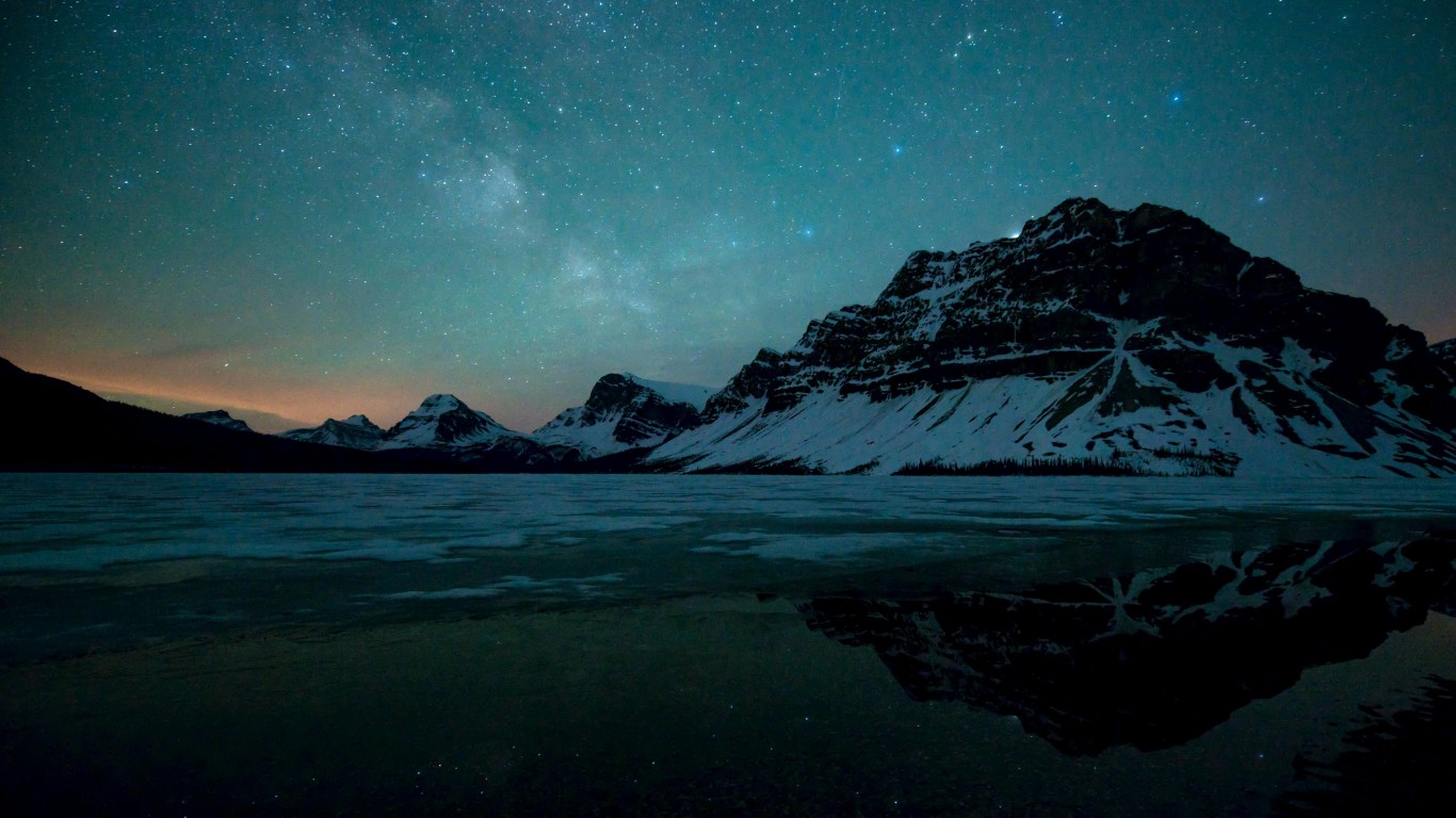 Milky Way over Bow Lake, Alberta, Canada Wallpaper for Desktop 1366x768