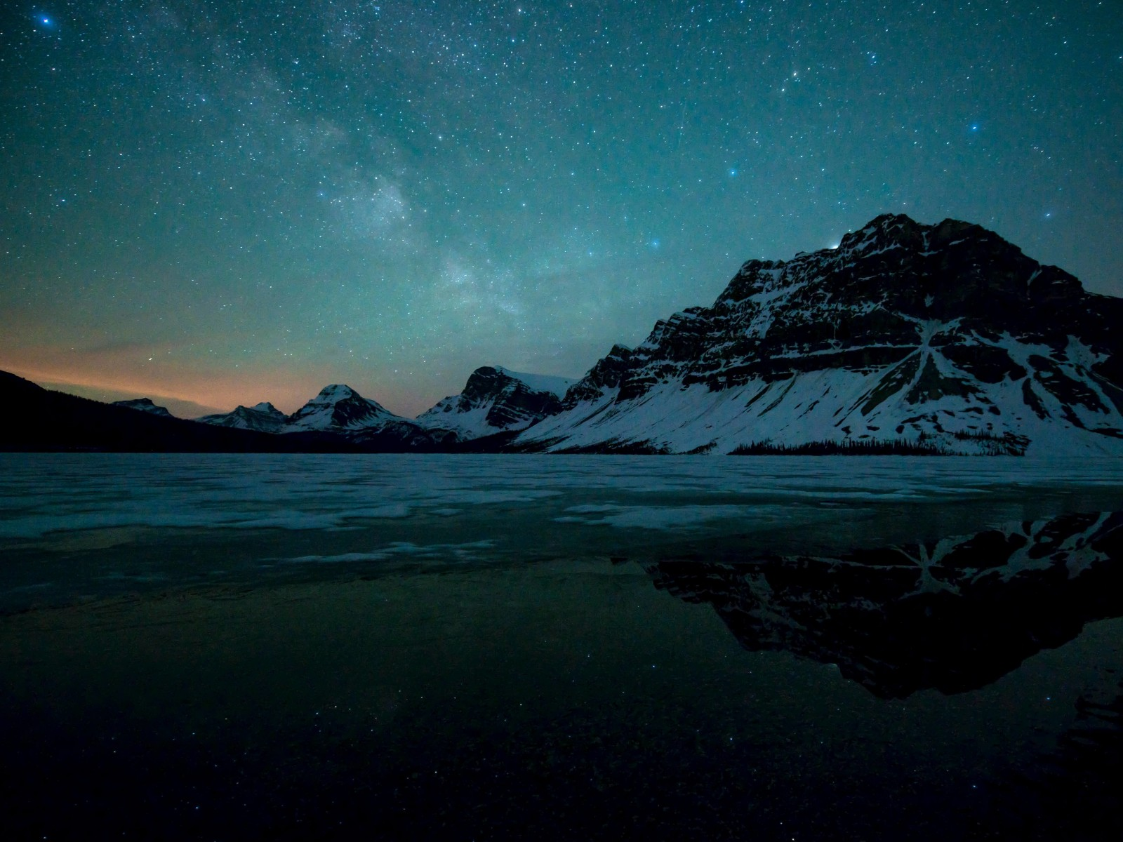 Milky Way over Bow Lake, Alberta, Canada Wallpaper for Desktop 1600x1200