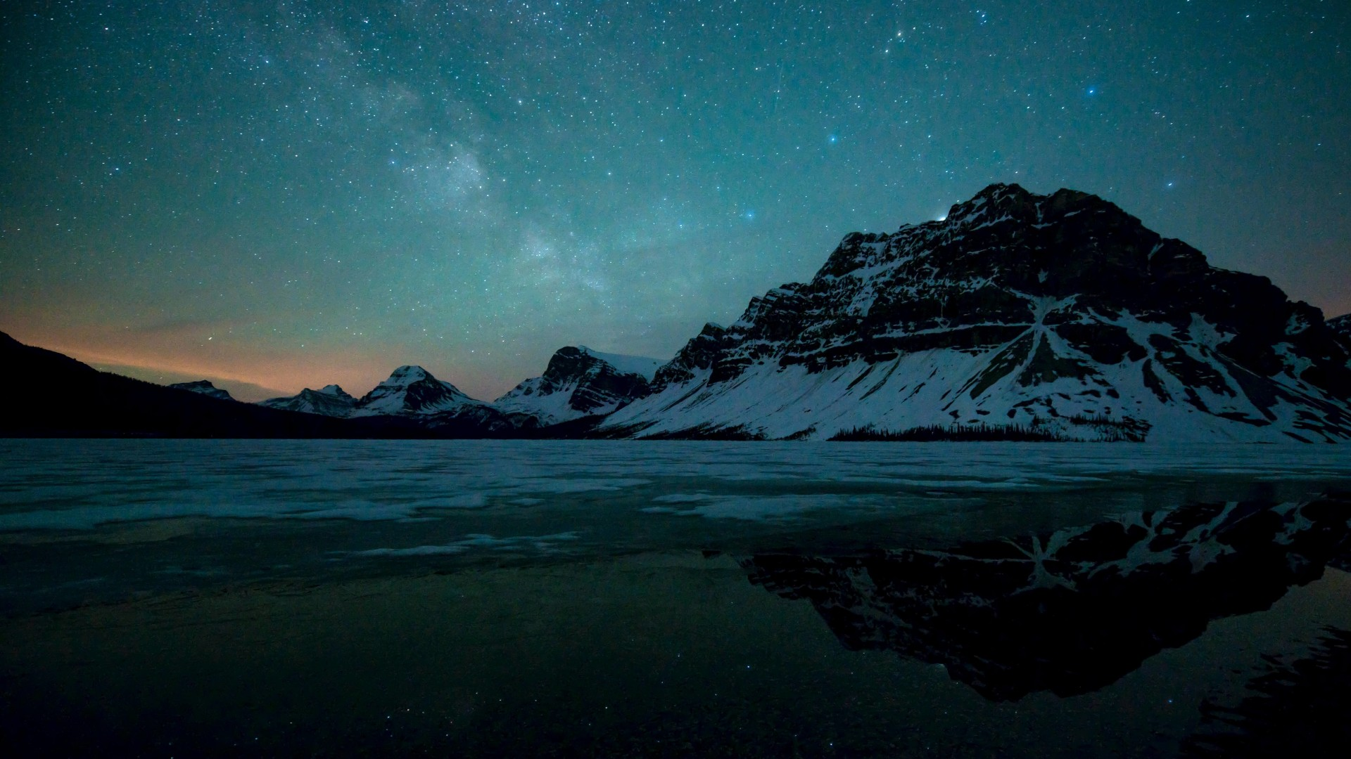 Milky Way over Bow Lake, Alberta, Canada Wallpaper for Desktop 1920x1080