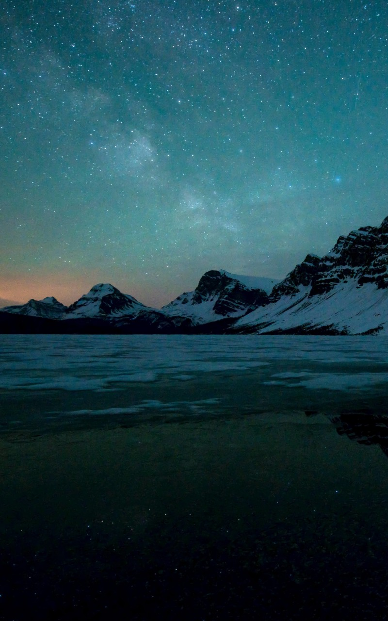 Milky Way over Bow Lake, Alberta, Canada Wallpaper for Amazon Kindle Fire HD
