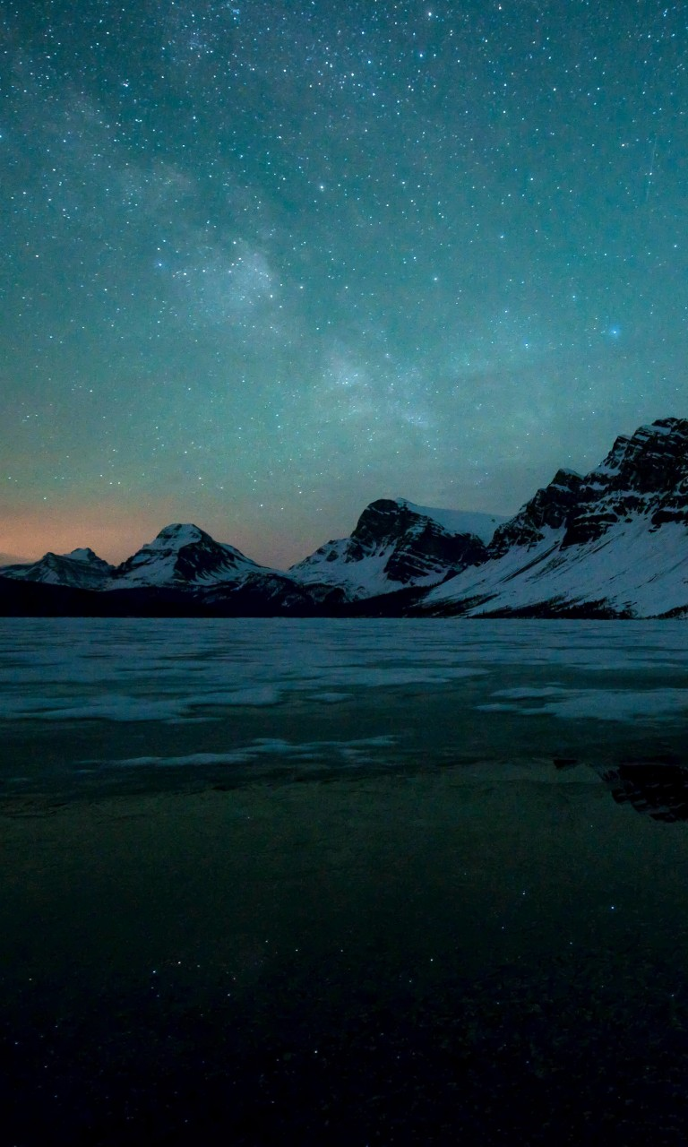Milky Way over Bow Lake, Alberta, Canada Wallpaper for LG Optimus G