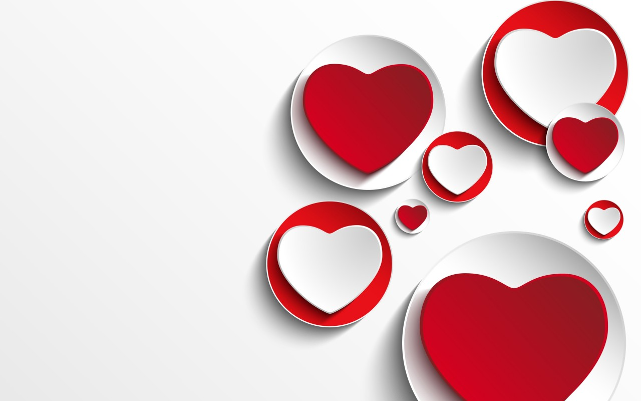 Minimalistic Hearts Shapes Wallpaper for Desktop 1280x800