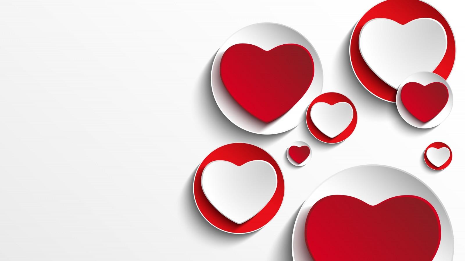Minimalistic Hearts Shapes HD Wallpaper For 1600x900