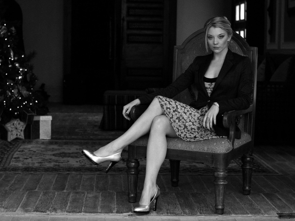 Natalie Dormer in Black & White Wallpaper for Desktop 1024x768