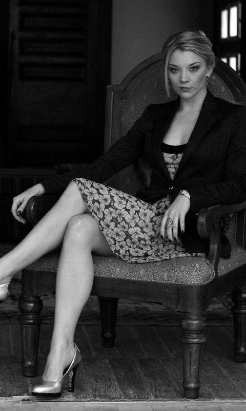 Natalie Dormer in Black & White Wallpaper for HTC Desire HD