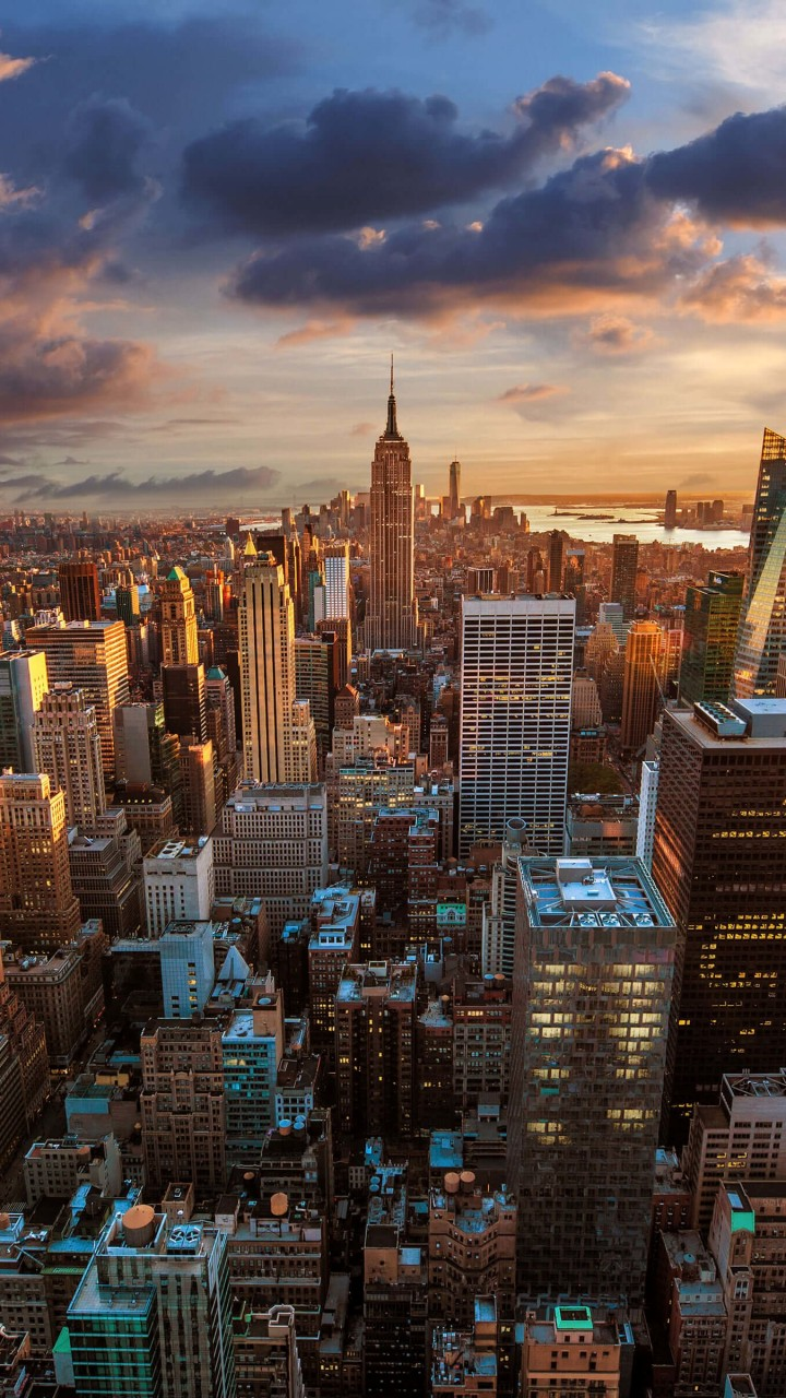 New York City Skyline At Sunset Wallpaper for HTC One mini
