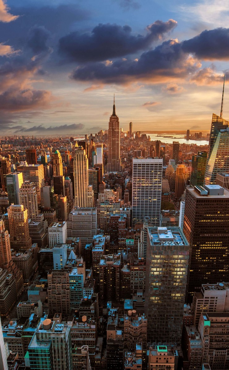 New York City Skyline At Sunset Wallpaper for Apple iPhone 4 / 4s