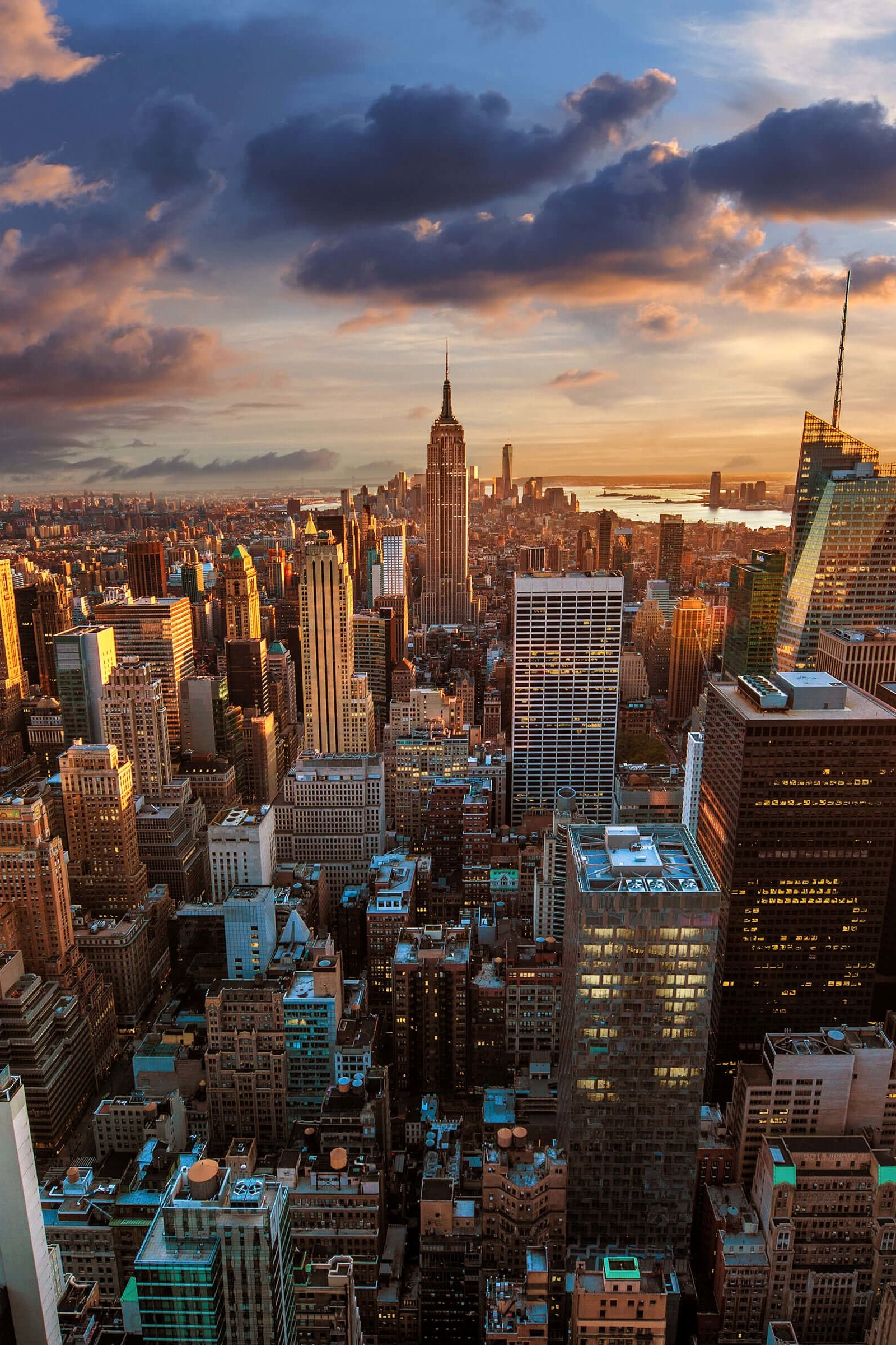 download new york city skyline at sunset hd wallpaper for kindle fire