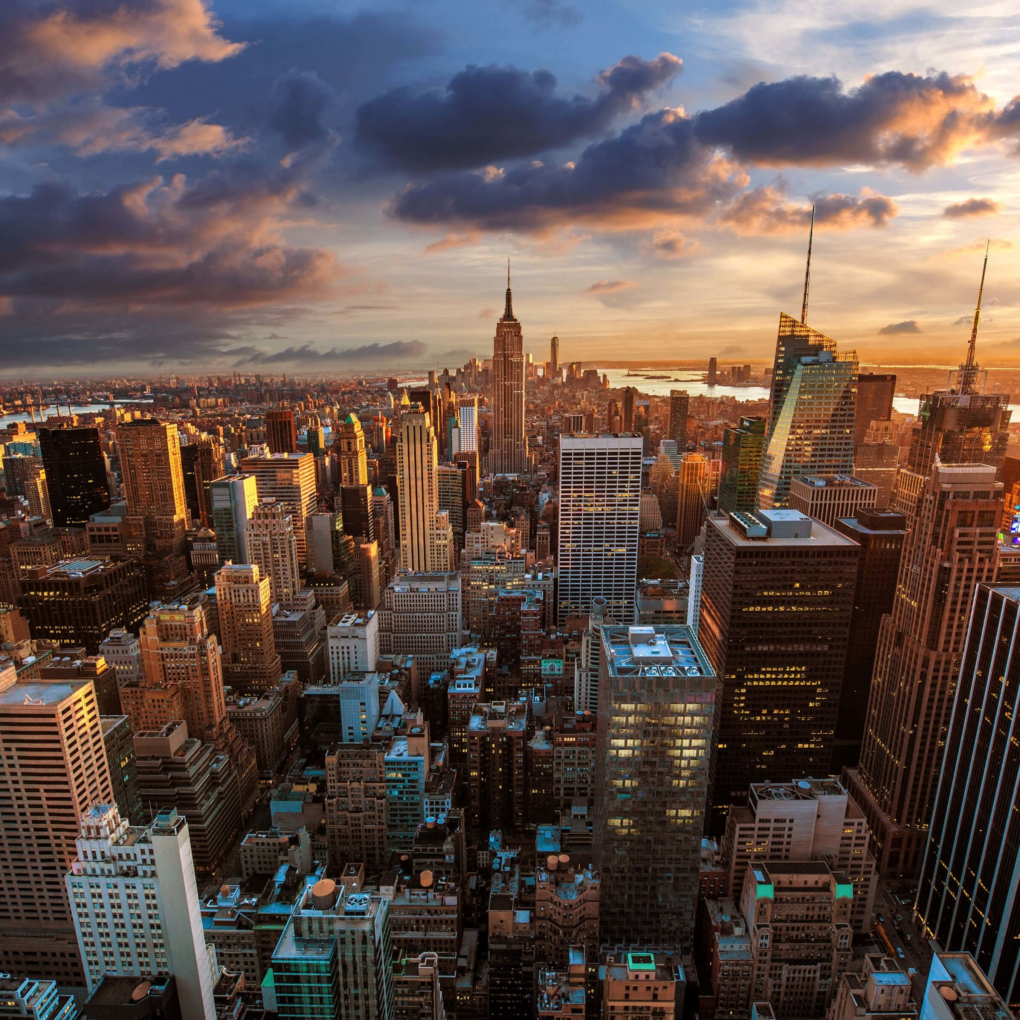 Download New York City Skyline At Sunset HD Wallpaper For