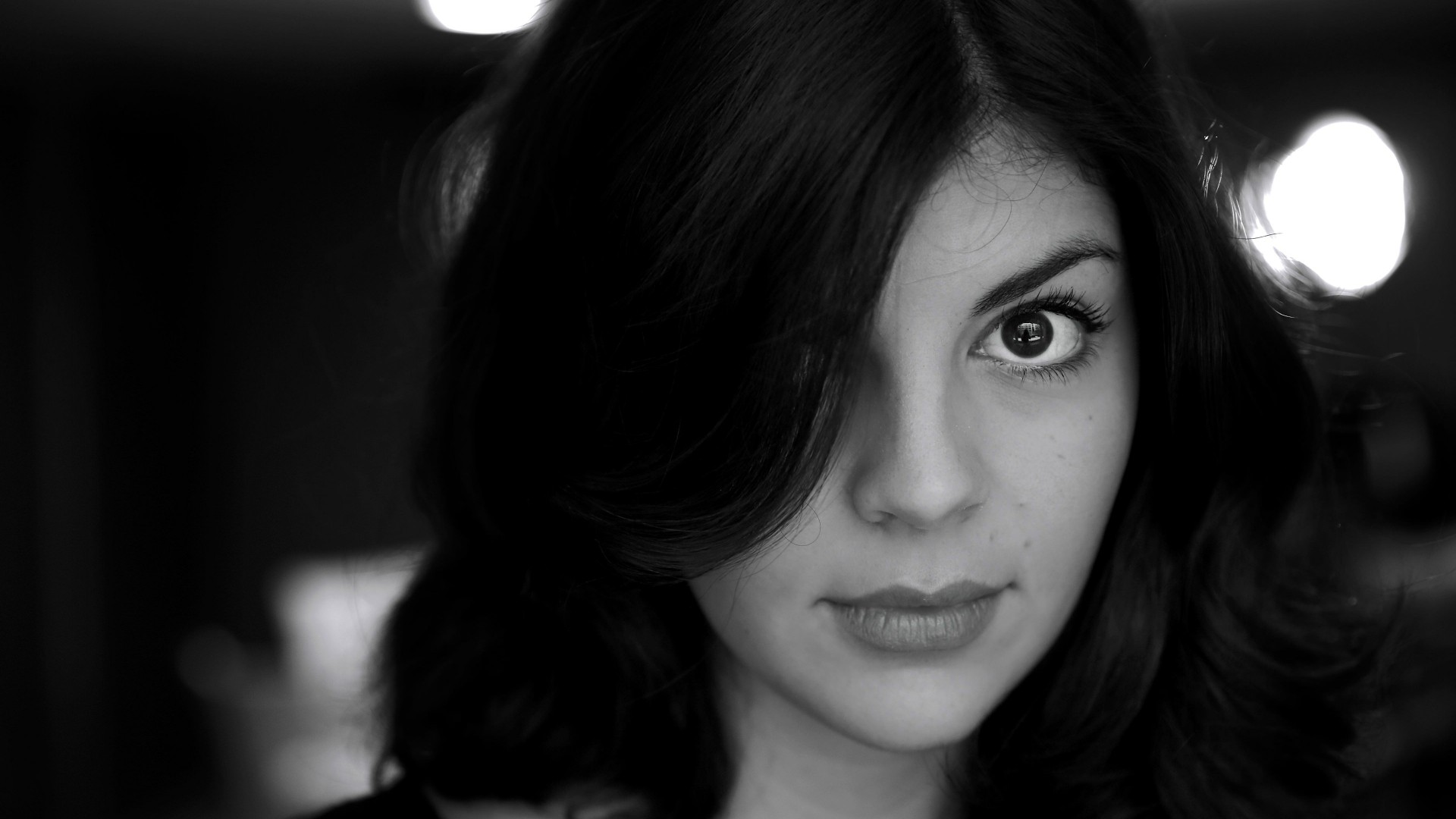 Nikki Yanofsky Black & White Portrait Wallpaper for Desktop 1920x1080