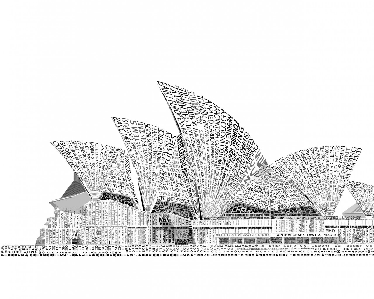 Opera House Sydney Typography Wallpaper for Desktop 1280x1024