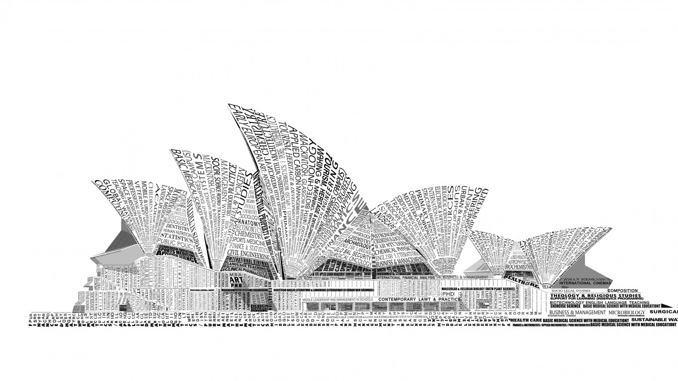 Opera House Sydney Typography Wallpaper for Desktop 1366x768