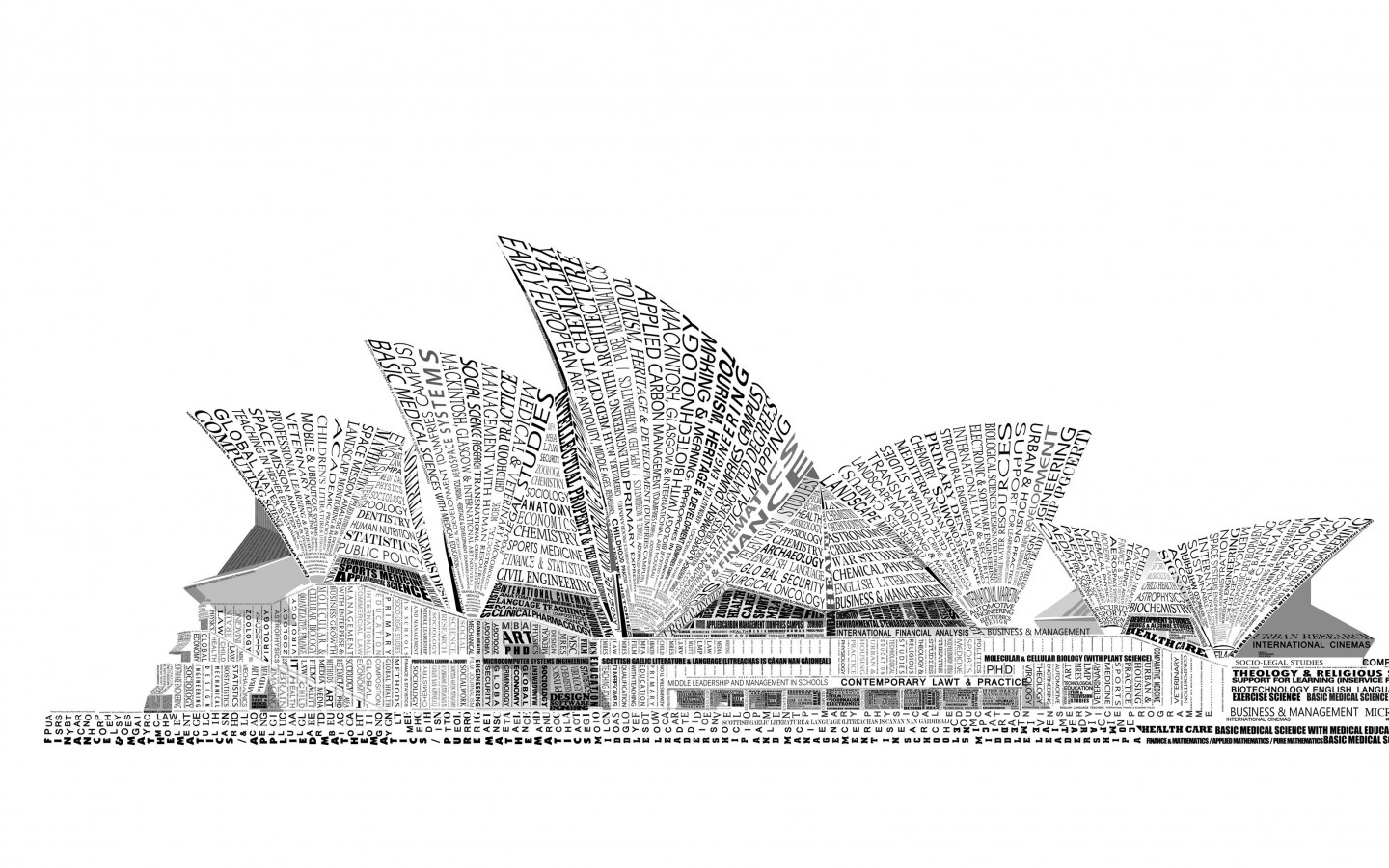 Opera House Sydney Typography Wallpaper for Desktop 1440x900