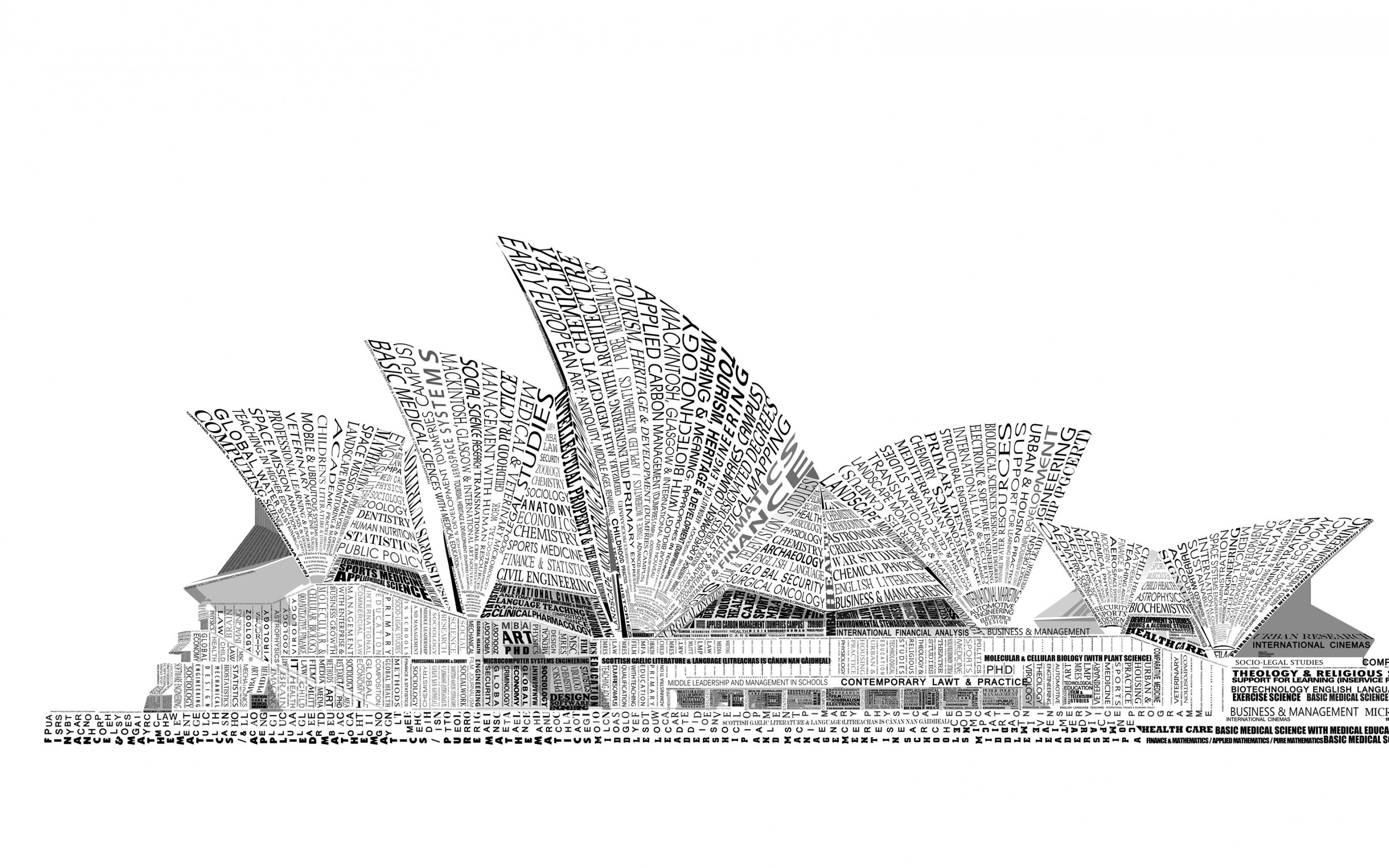 Opera House Sydney Typography Wallpaper for Desktop 2880x1800
