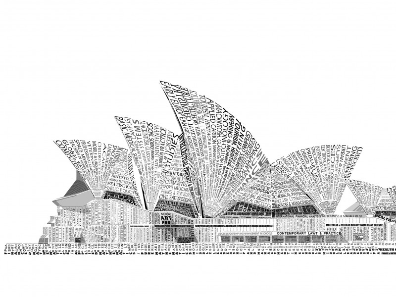 Opera House Sydney Typography Wallpaper for Desktop 800x600