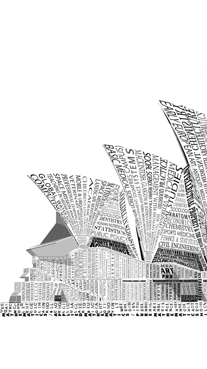 Opera House Sydney Typography Wallpaper for HTC One mini