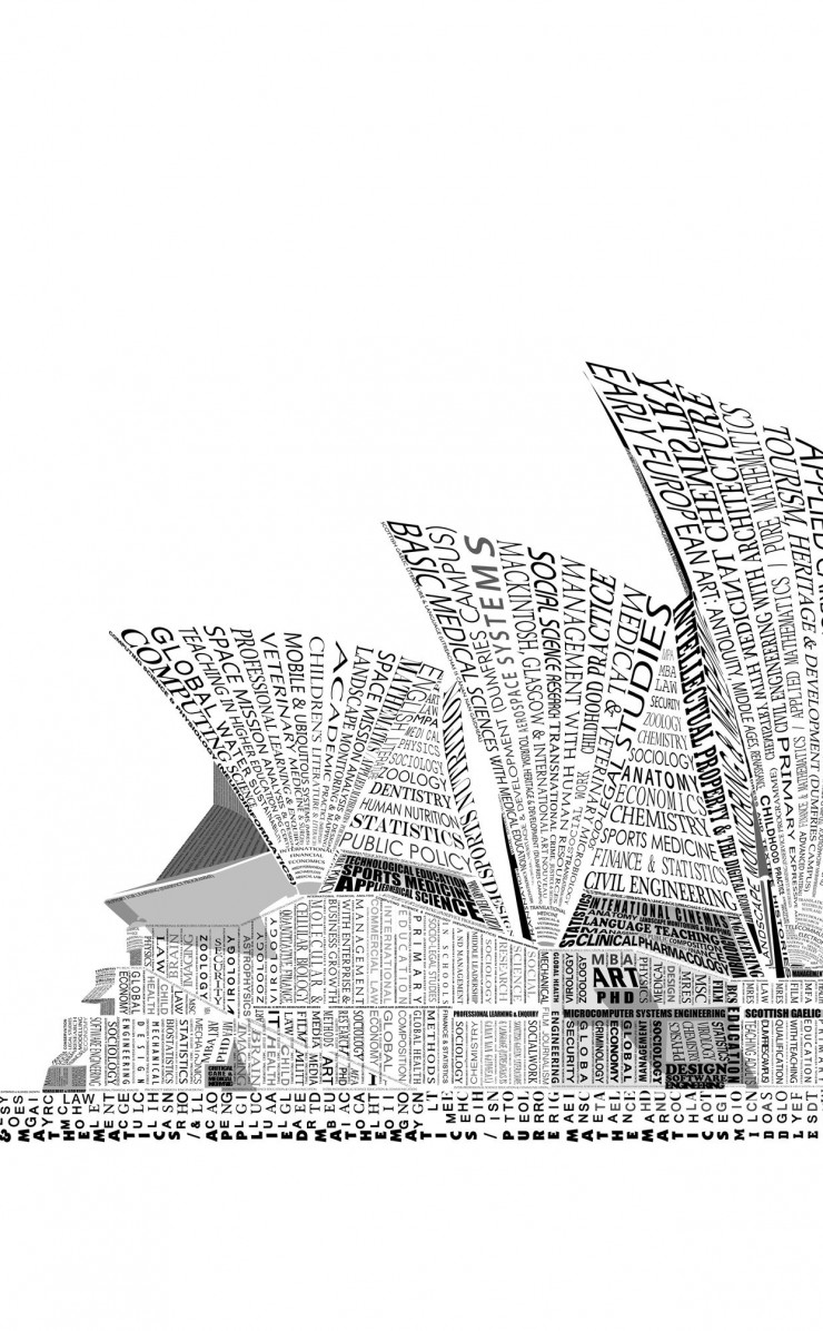 Opera House Sydney Typography Wallpaper for Apple iPhone 4 / 4s