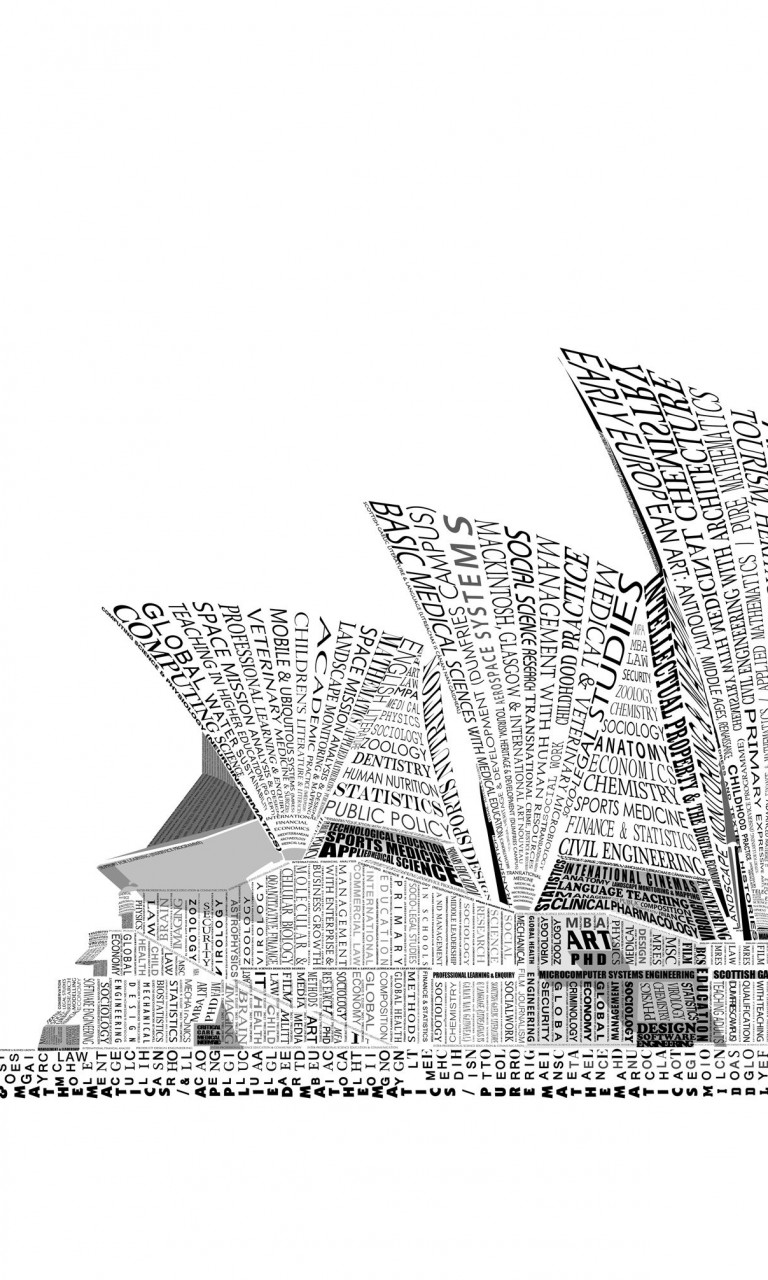 Opera House Sydney Typography Wallpaper for Google Nexus 4