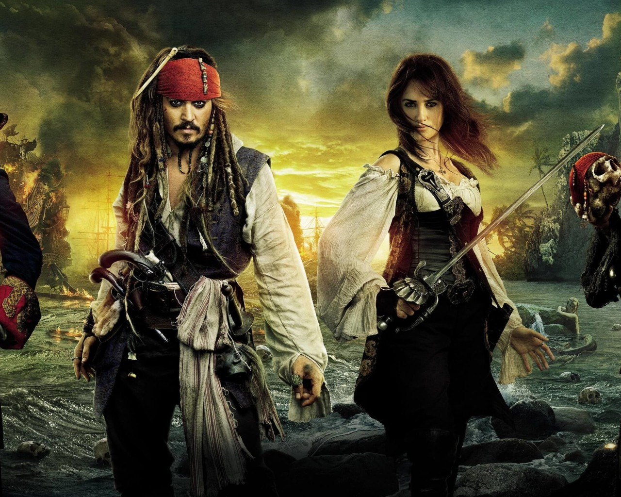 Pirates of the Caribbean: On Stranger Tides Characters Wallpaper for Desktop 1280x1024
