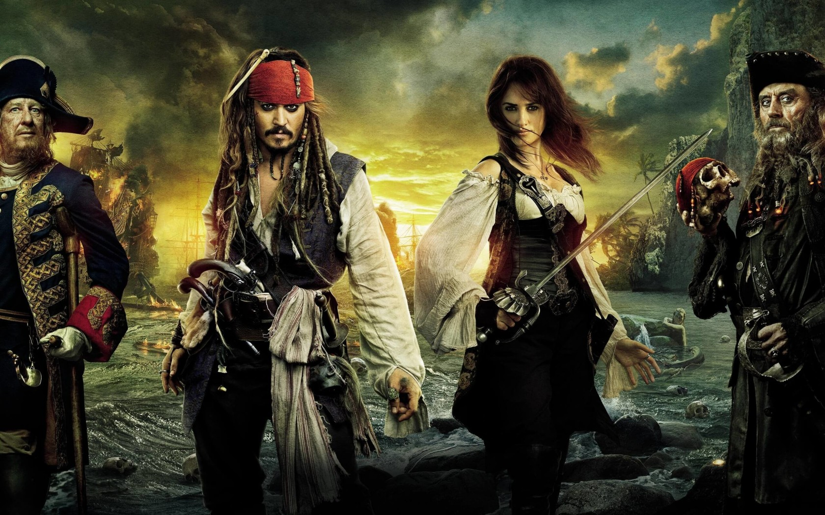 Pirates of the Caribbean: On Stranger Tides Characters Wallpaper for Desktop 1680x1050