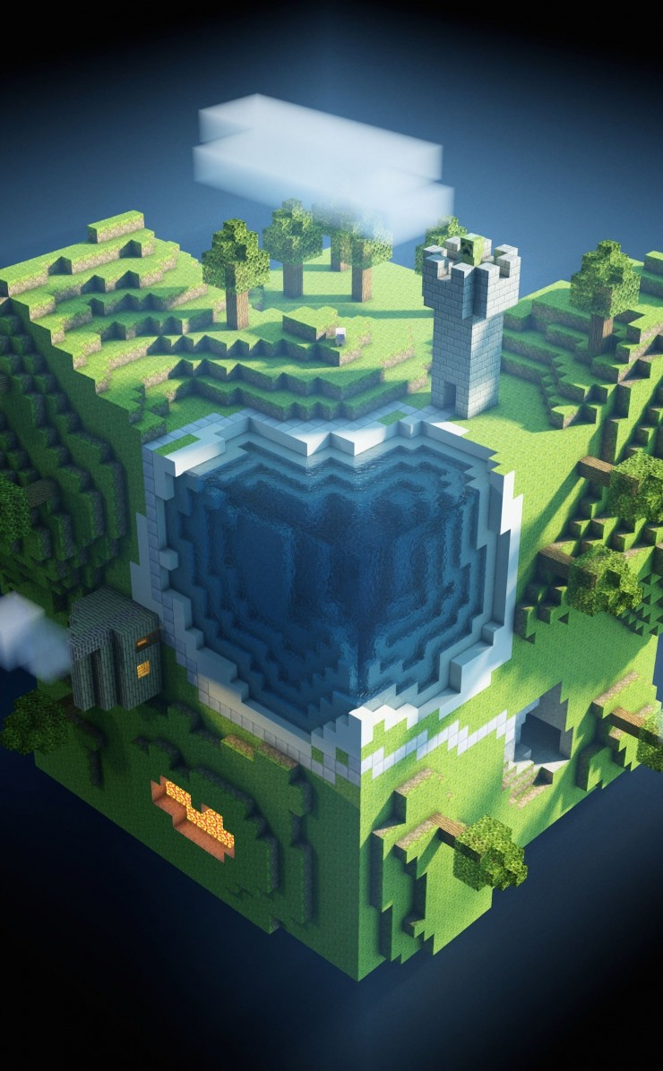 Planet Minecraft Wallpaper for Apple iPhone 4 / 4s