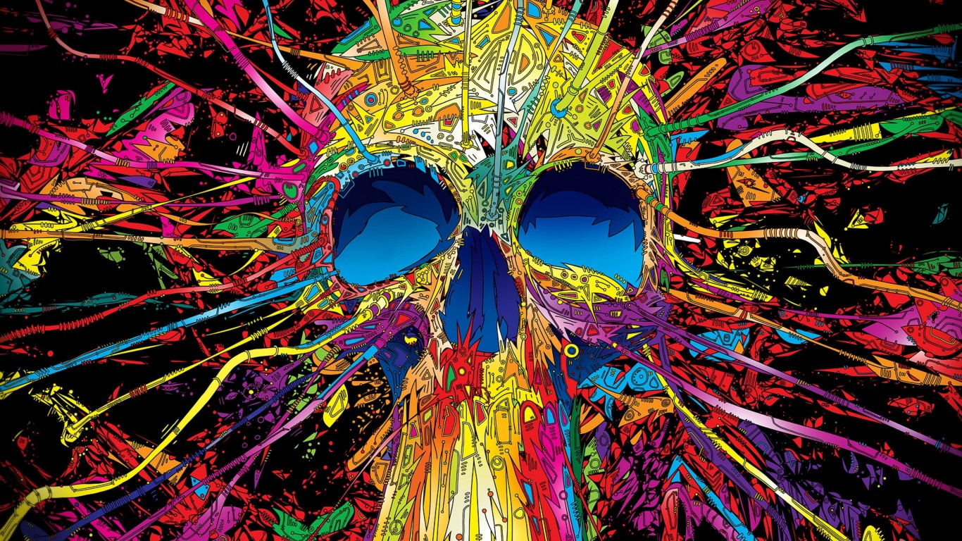 Psychedelic Skull Wallpaper for Desktop 1366x768