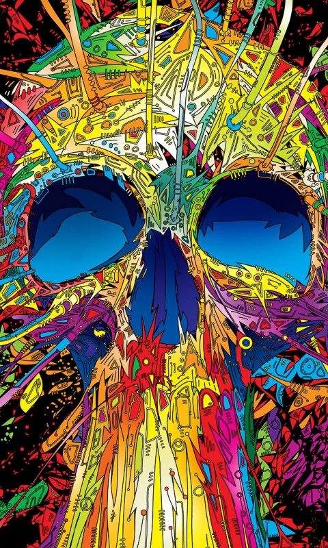 Psychedelic Skull Wallpaper for SAMSUNG Galaxy S3 Mini