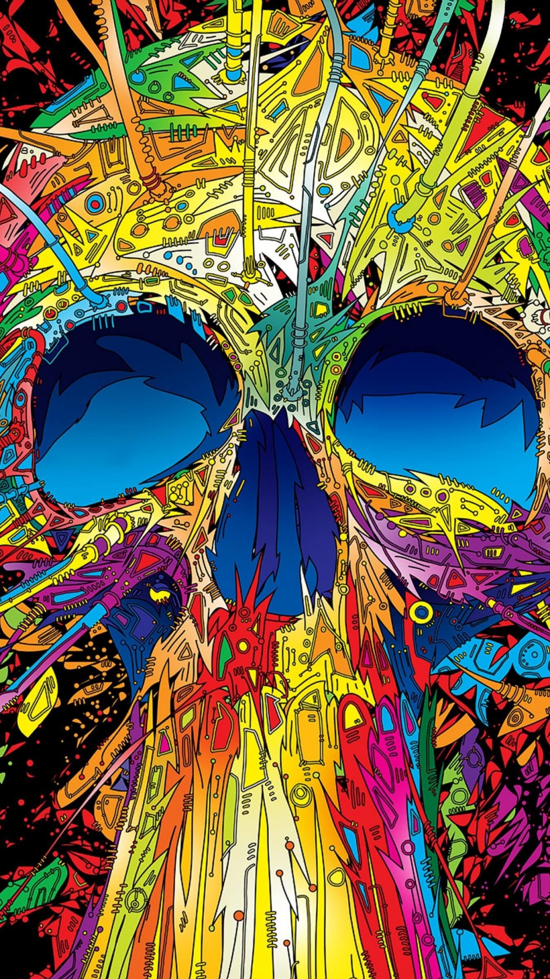 Psychedelic Skull Wallpaper for HTC One