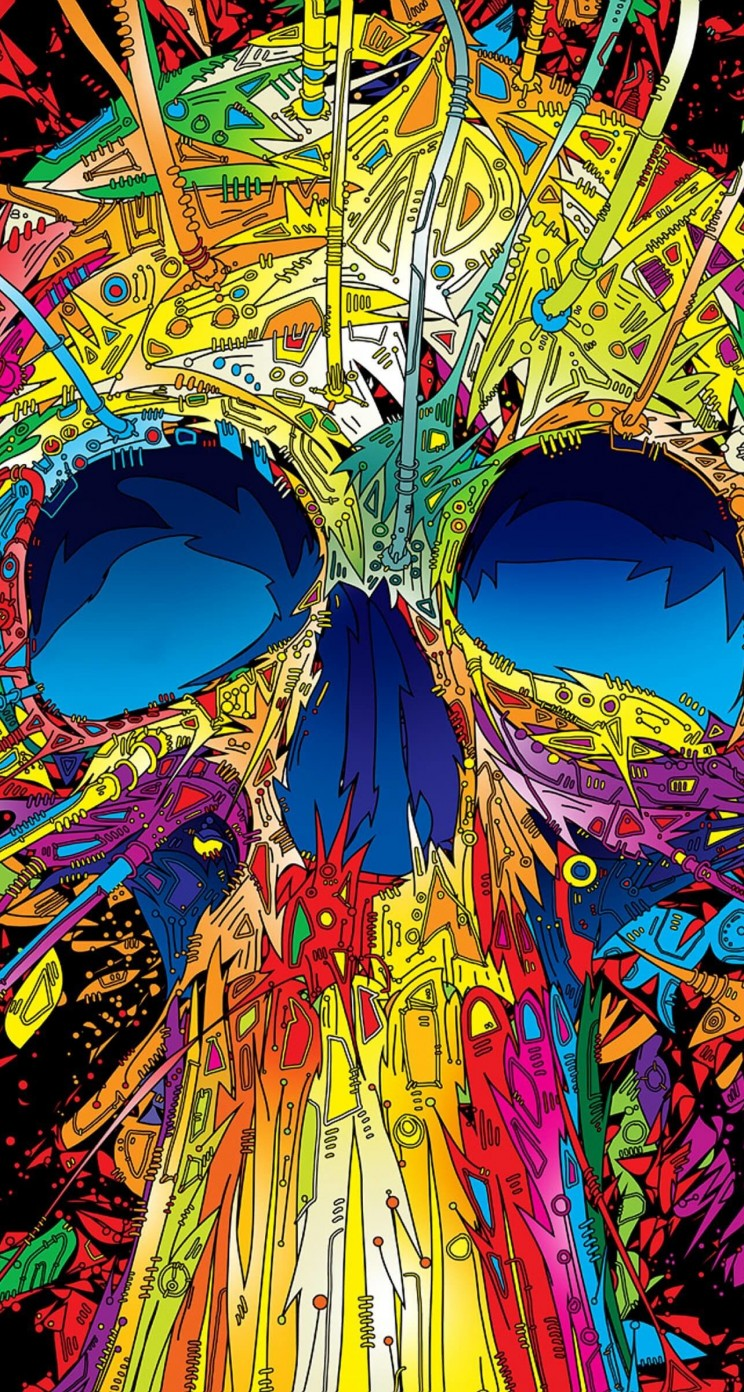 Psychedelic Skull Wallpaper for Apple iPhone 5 / 5s