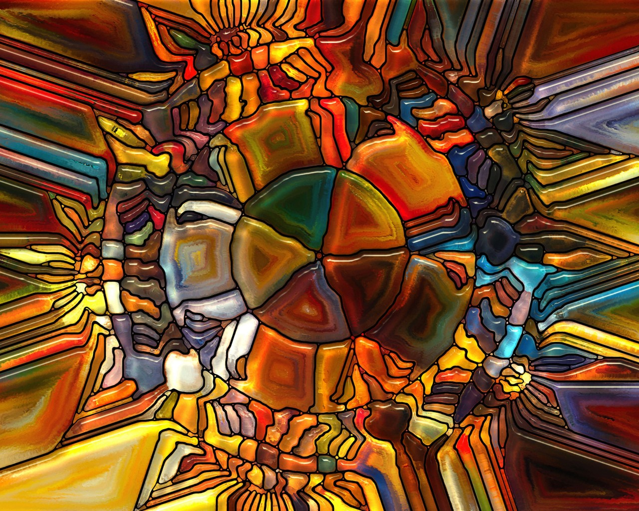 Psychedelic Stained Glass Wallpaper for Desktop 1280x1024