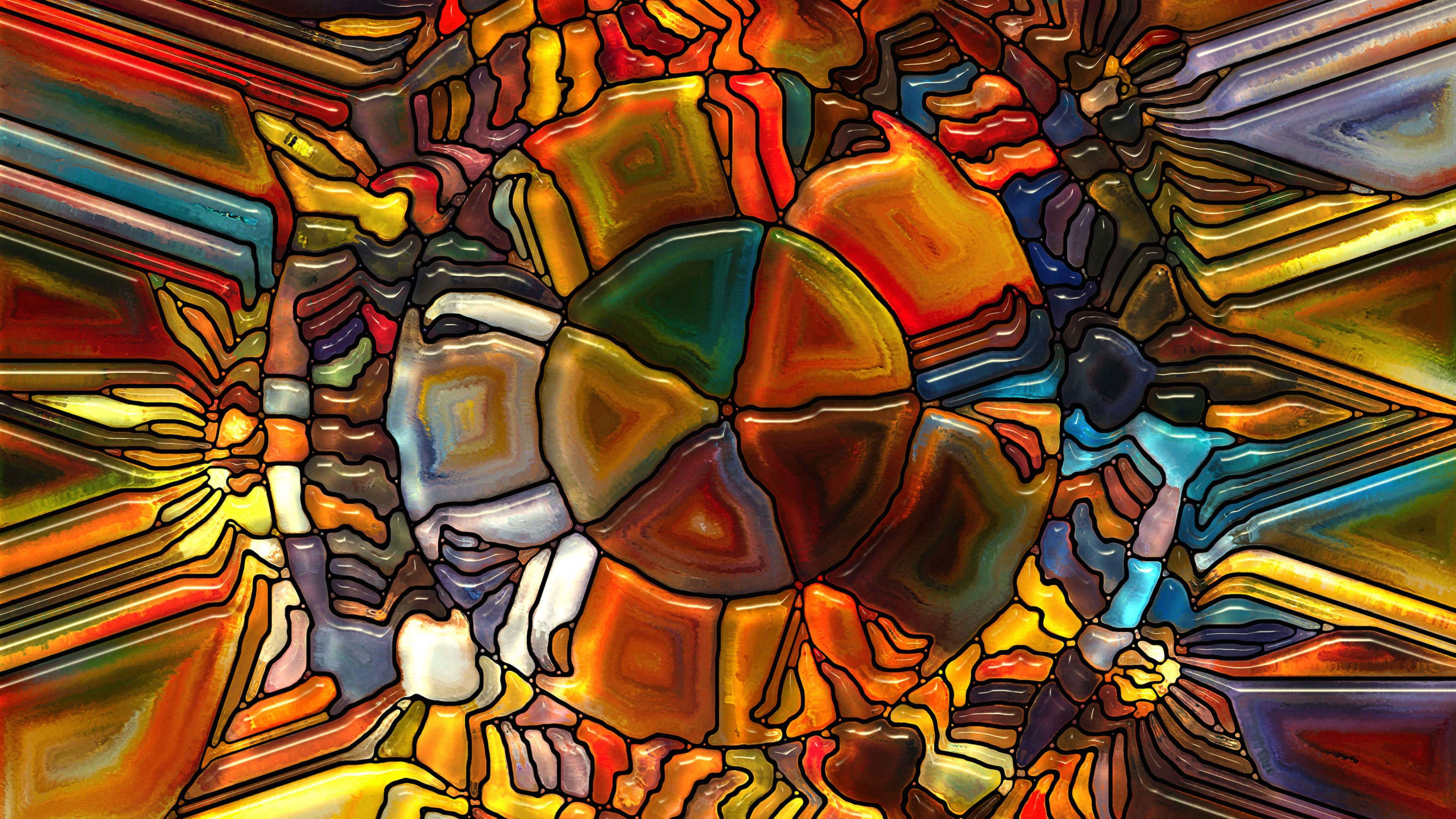 Psychedelic Stained Glass Wallpaper for Desktop 4K 3840x2160