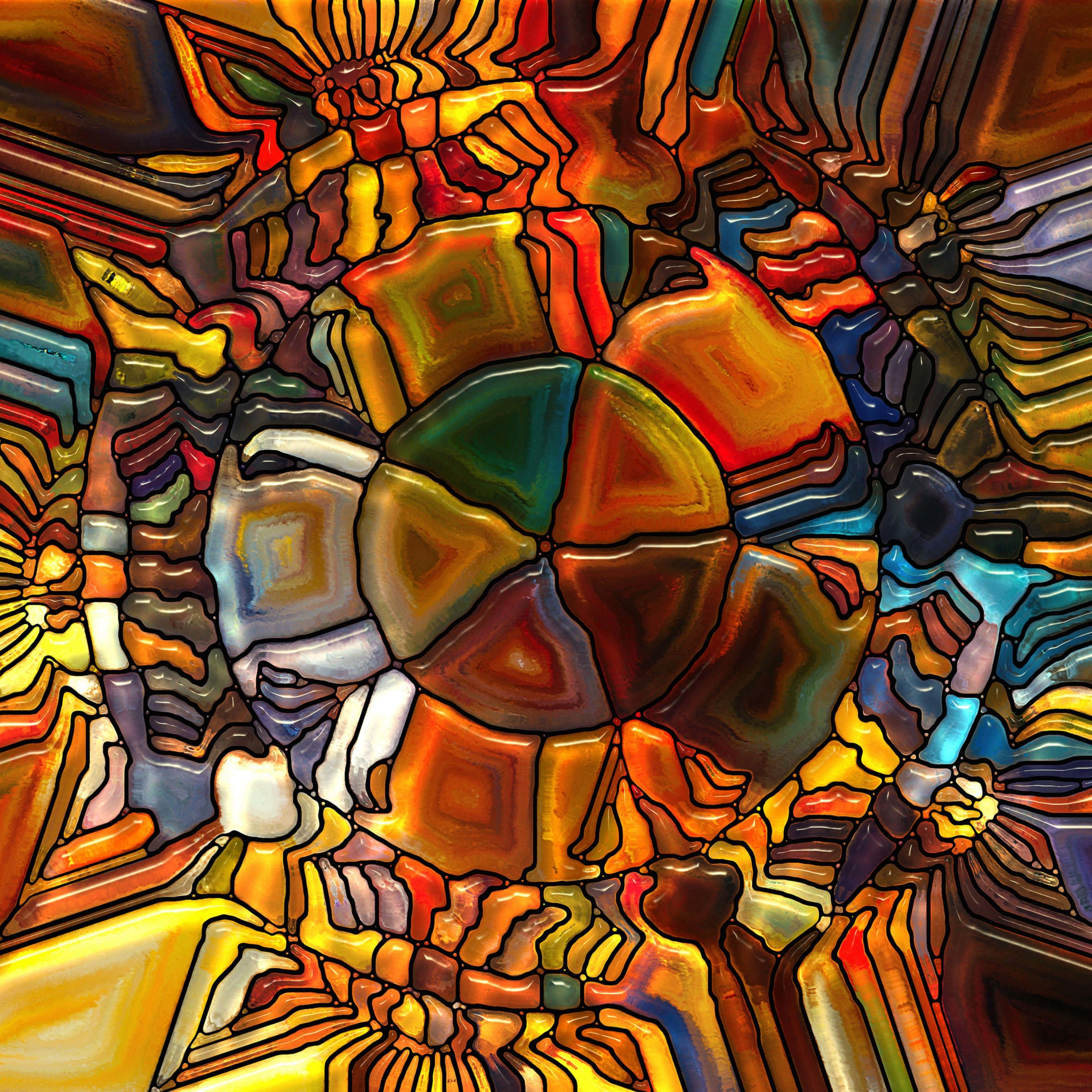Psychedelic Stained Glass Wallpaper for Apple iPad 4