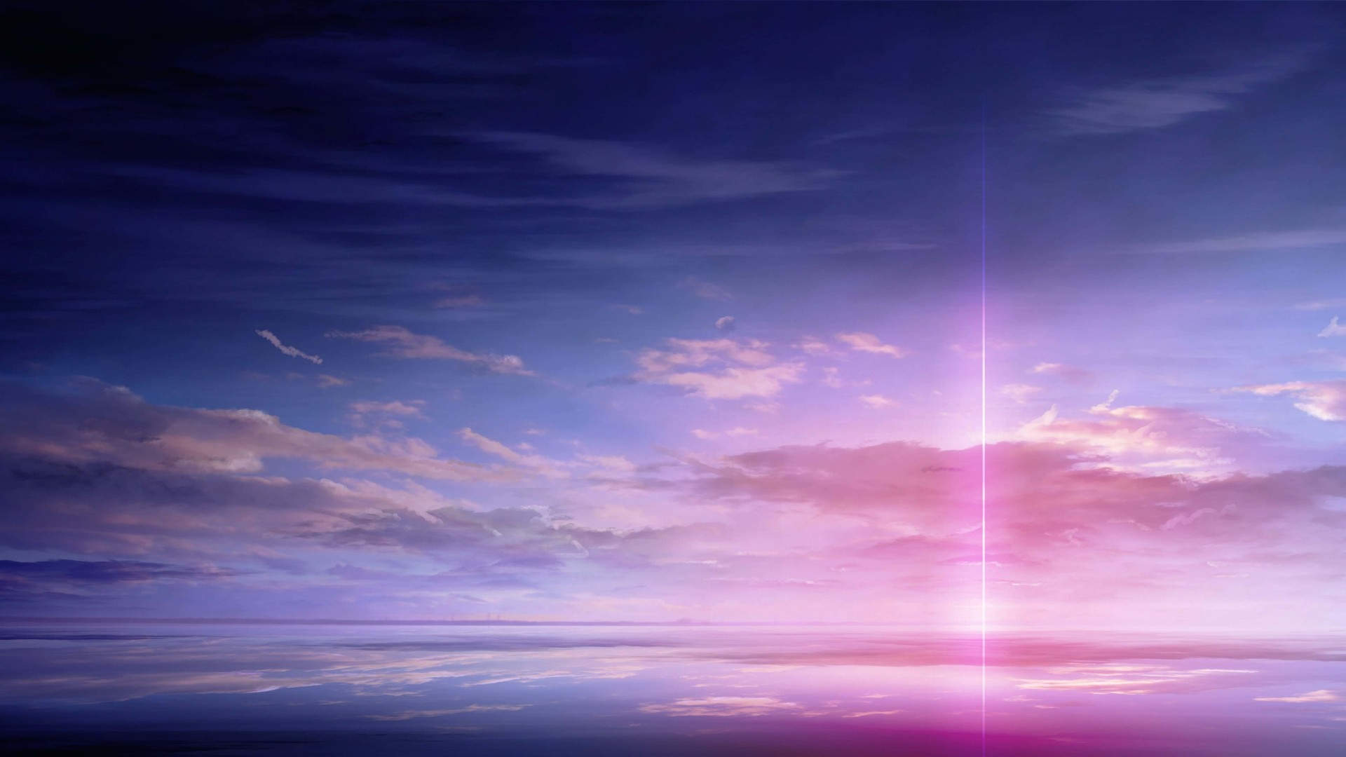 Purple Solar Pillar Wallpaper for Desktop 1920x1080