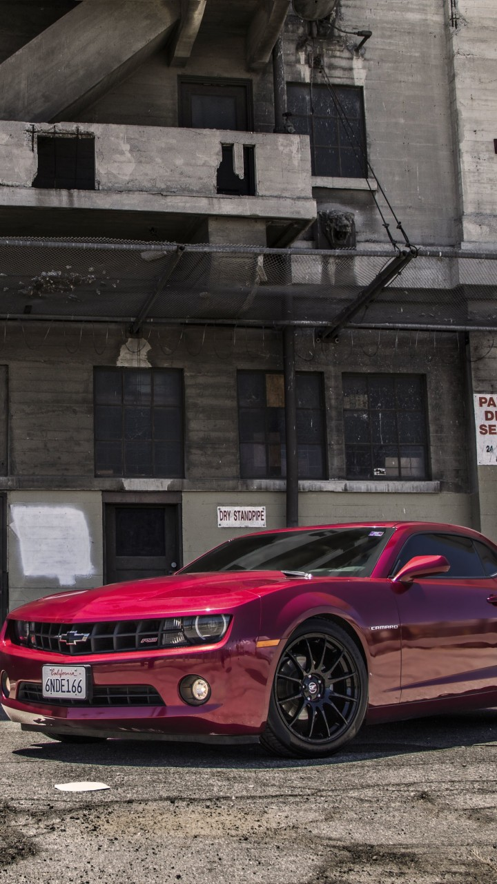 Red Chevrolet Camaro RS Wallpaper for Motorola Moto G
