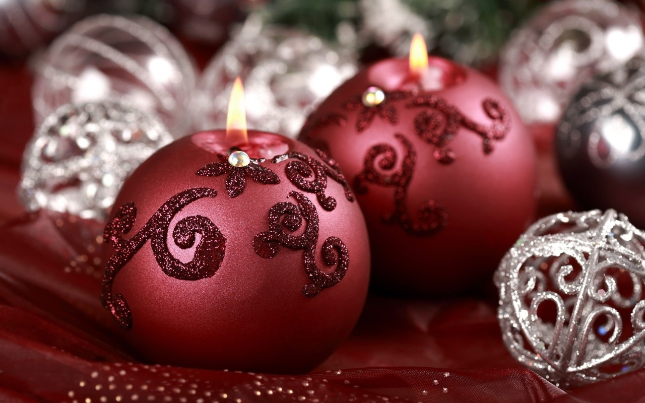 Red Christmas Ornament Ball Candles Wallpaper for Desktop 1280x800