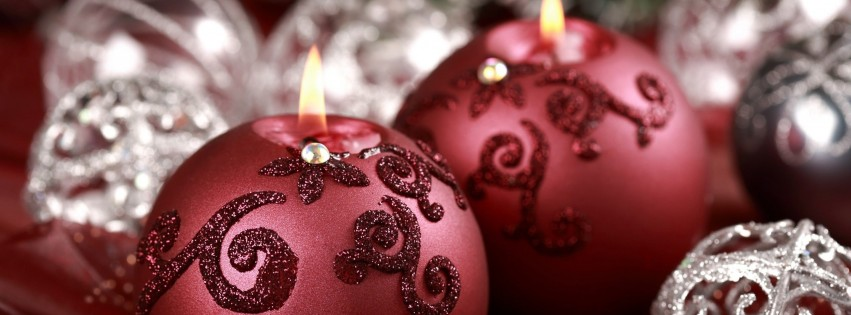 Red Christmas Ornament Ball Candles Wallpaper for Social Media Facebook Cover