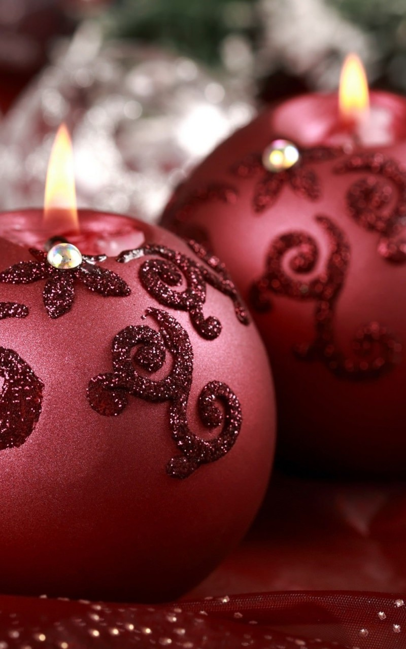 Red Christmas Ornament Ball Candles Wallpaper for Amazon Kindle Fire HD