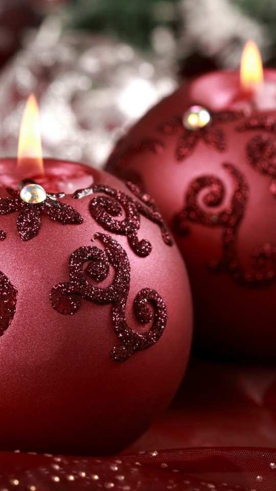 Red Christmas Ornament Ball Candles Wallpaper for Motorola Moto E