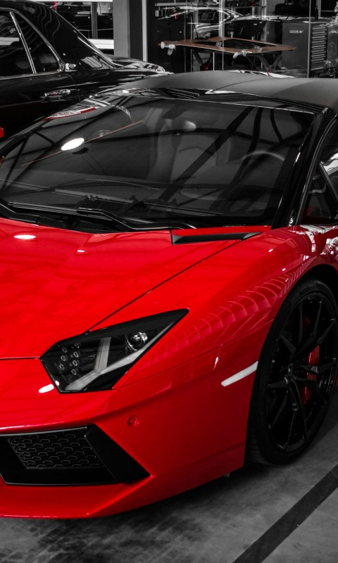 Red Lamborghini Aventador Wallpaper for SAMSUNG Galaxy S3 Mini