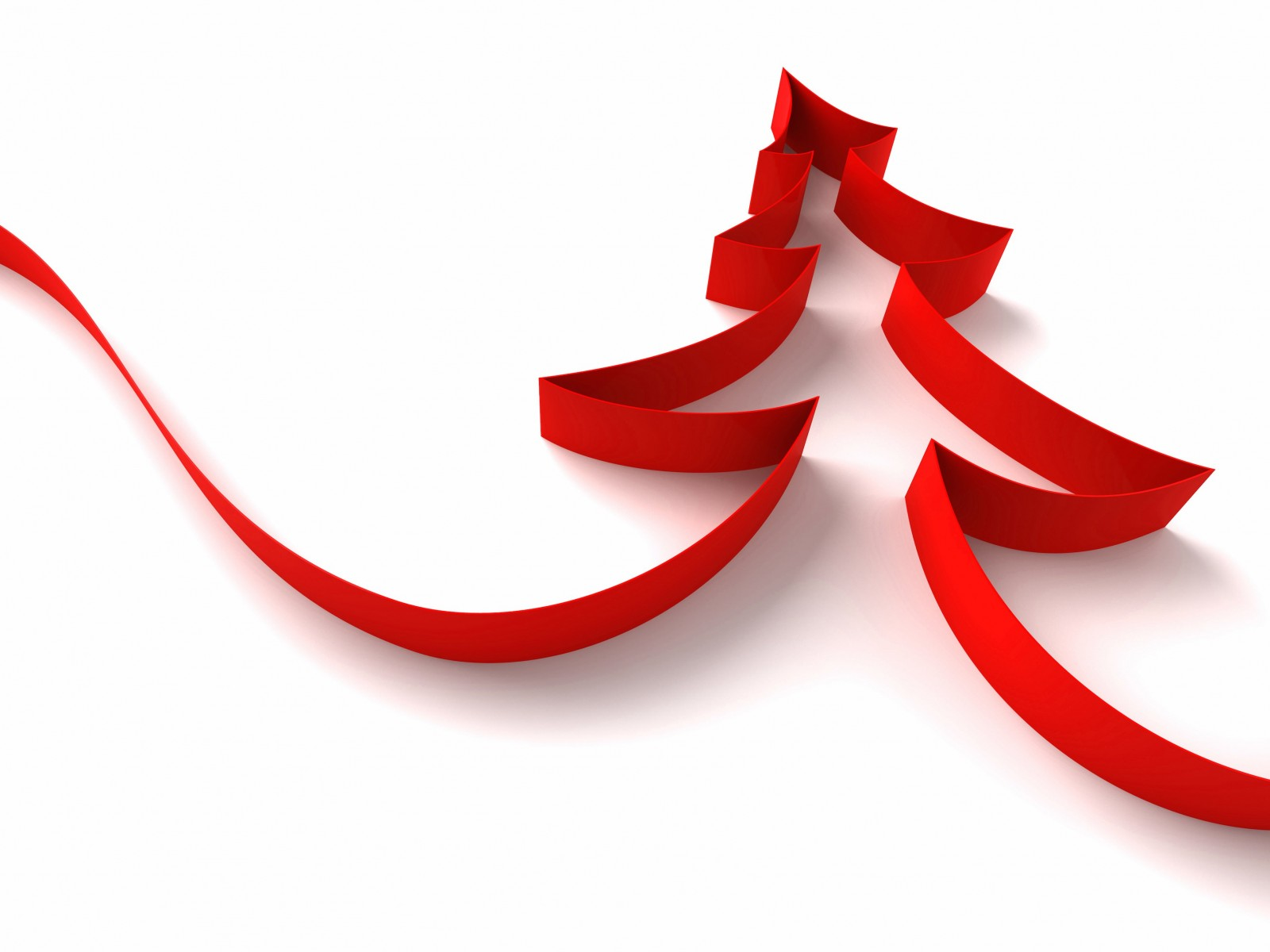 Red Ribbon Christmas Tree Wallpaper for Desktop 1600x1200