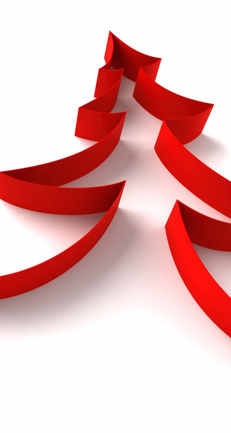 Red Ribbon Christmas Tree Wallpaper for Apple iPhone 5 / 5s