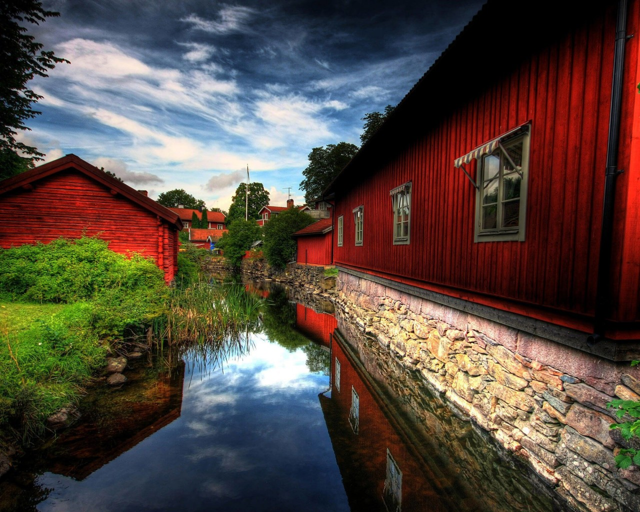 Red Village, Norberg, Sweden Wallpaper for Desktop 1280x1024