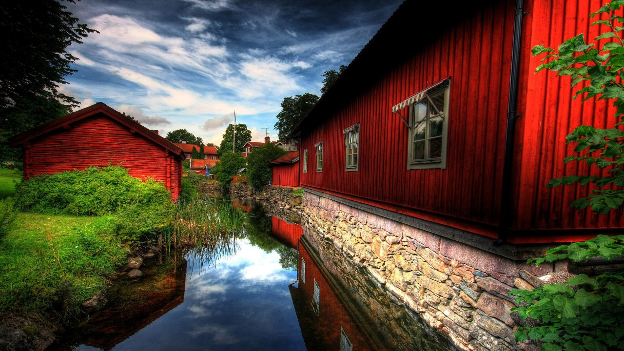 Red Village, Norberg, Sweden Wallpaper for Desktop 1280x720
