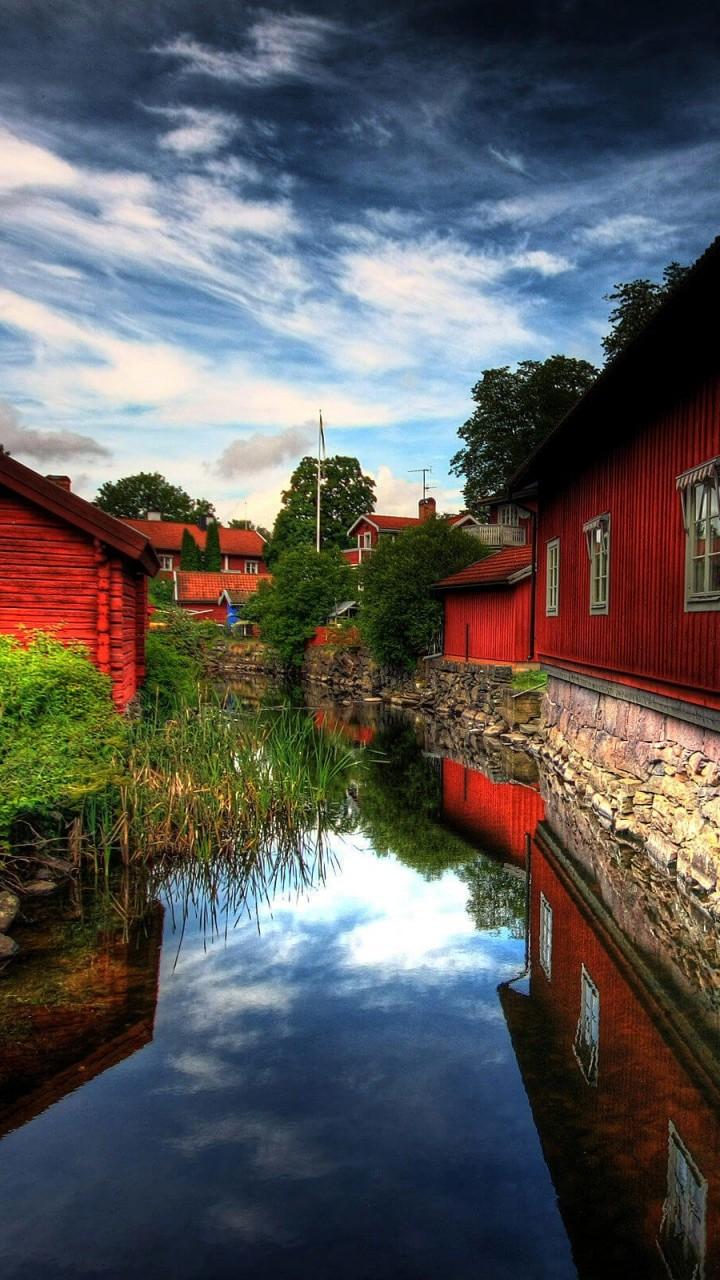 Download Red Village, Norberg, Sweden HD wallpaper for