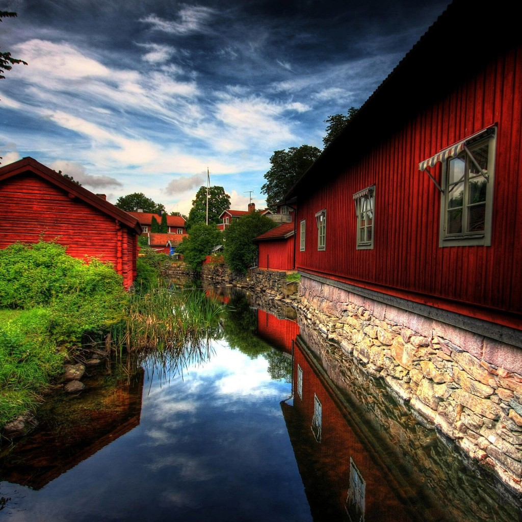 Red Village, Norberg, Sweden Wallpaper for Apple iPad 2
