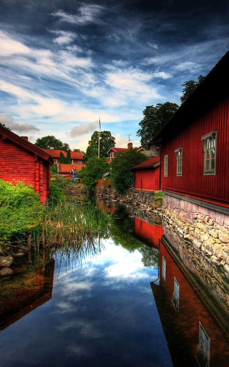 Red Village, Norberg, Sweden Wallpaper for Amazon Kindle Fire HD